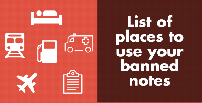list of places to use your banned notes