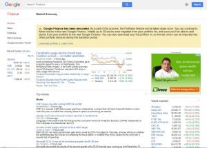 google finance home page